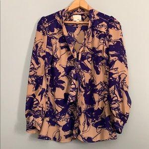 GREYLIN   Anthropologie tie front career blouse